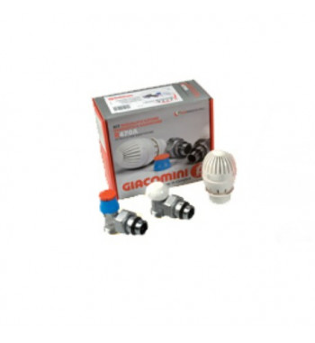 Kit robinet radiator tur-retur coltar si cap termostatic Giacomini 1/2""