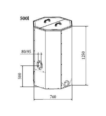 Rezervor peleti Atmos 500 L. - 2