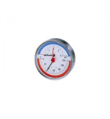 "Termomanometru TIM-ABS Watts, cadran Ø80, domeniu masura   0-4 bari, racord axial 1/2"""