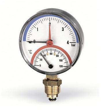 "Termomanometru TIRM-ABS Watts, cadran Ø80, domeniu masura 0-4 bari, 0 - 120ºC, racord radial 1/2"""