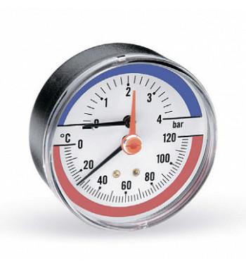 "Termomanometru TIM-ABS Watts, cadran Ø80, domeniu masura 0-4 bari, 0-120 C racord axial 1/2"""